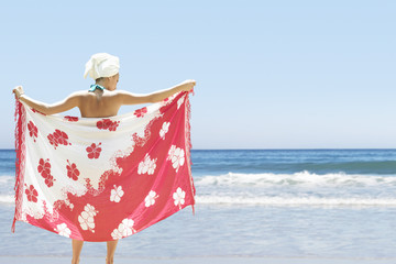 Woman holding sarong on beach, back view