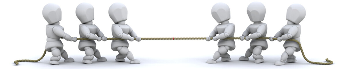 3d render of man pulling on rope