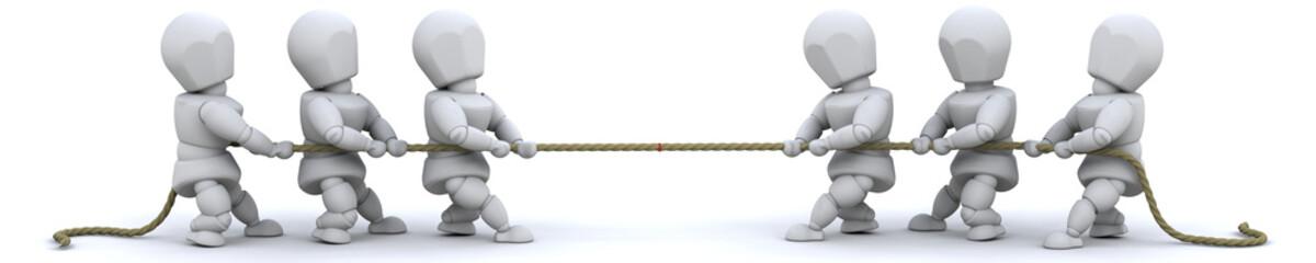 3d render of man pulling on rope