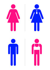 Joke toilet signs for gay bar. Vector.