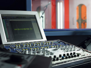 Mixing deck and monitor  in recording studio