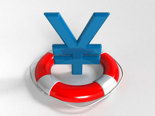 yen symbol and lifebuoy ring isolated on a white background (3D