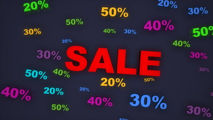 3d Sale and Percentage text falling