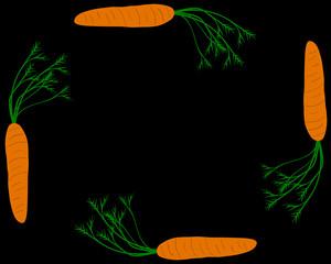 Karotten als Rahmen mit schwarzem Hintergrund