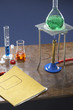 Bunsen burner, tripod, flask and test tubes in science laboratory