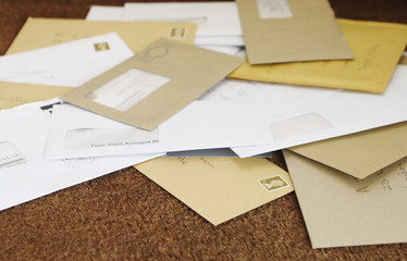 Pile of mail on doormat