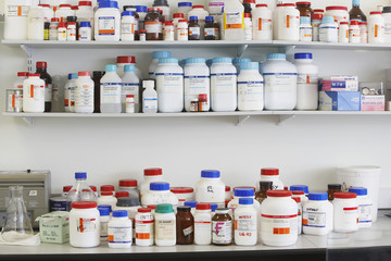 Shelves full of medications