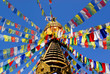 flags at buddhist temple in nepal