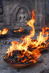 flame offer at monkey temple in nepal