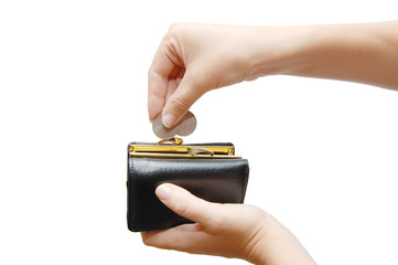 black wallet and coin in woman hand against white background