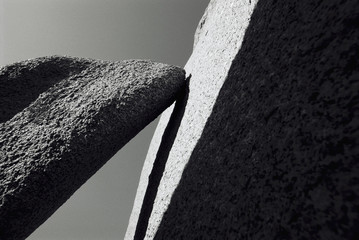 Stones, close up, black and white