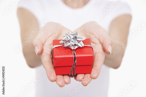 Woman offering small gift, mid section, close-up on hands
