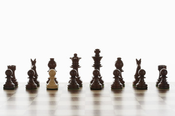 Single white pawn in initial line up of black chess pieces