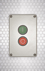 Red and green buttons on silver background