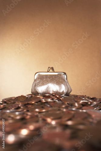Bronze purse on heap of copper coins