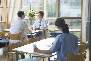 Doctors on Work Break in Cafeteria
