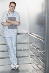Physician Waiting in Elevator