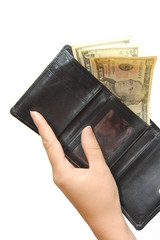 black wallet with money and hand