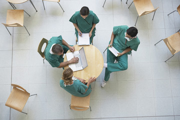 Physicians Consulting in Cafeteria, view from above