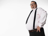 Confident overweight businessman, side view