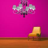 Orange chair in pink minimalist interior poster