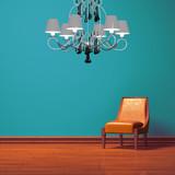 Orange chair in blue minimalist interior poster