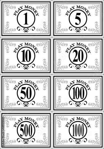 casino play money template