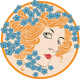 Abstract women face in style art-nouveau poster