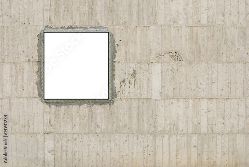 Blank canvas and concrete wall