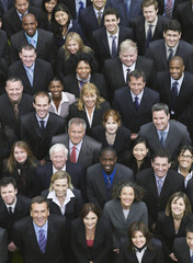 Large group of business people looking up, portrait, elevated view