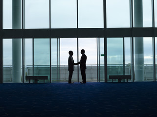 Businessmen Shaking Hands in doorway, silhouette, profile