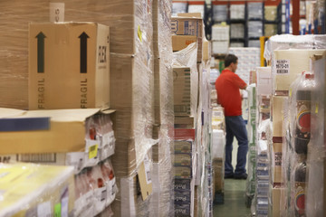 Warehouse worker standing in Warehouse Full of cellophane-wrapped Goods