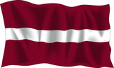 Waving flag of Latvia isolated on white poster