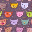 roleta: Funny cartoon cats. Colorful seamless pattern