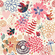 Birds in flowers - abstract seamless pattern