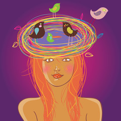 Beautiful girl with a nest on her head. Bright summer concept