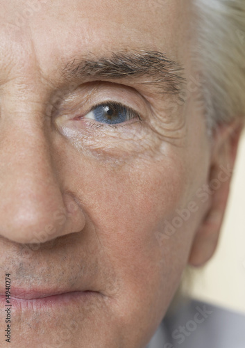 Senior Man, close up of half of face