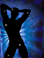 Grunge Background with Party Boy Silhouette with Stars