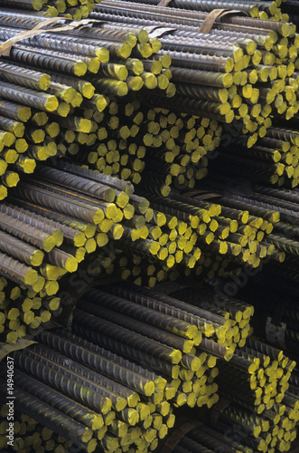 Stacks of Bundles of steel Rebar