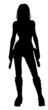 Woman Holding Guns Silhouette
