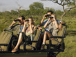 Group of tourists on safari, sitting in jeep, looking through binoculars