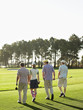 Four young golfers walking on course, back view