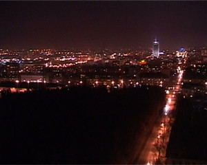 Timelapse panoramic video of city in the night view from above