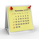 2010 year calendar. November. Isolated 3D image poster