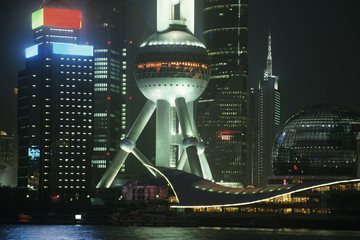 Pudong Oriental Pearl Tower at night in Shanghai, China