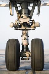 Airplane wheel, close-up