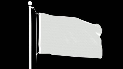 Isolated Kuwaiti Flag on Flag Pole