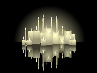 Candle background with reflections