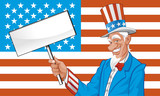 Uncle sam with blank sign on eeuu flag poster