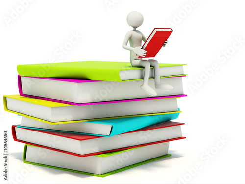 Man with colored books isolated on white